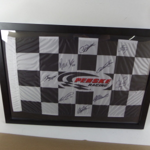 PENSKE RACING 2012 TEAM AUTOGRAPHED CHECKERED FLAG # auto3