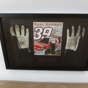 RYAN NEWMAN AUTOGRAPHED GLOVES/HERO CARD IN SHADOW BOX RN3