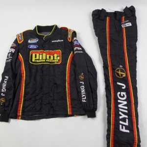 MICHAEL ANNETT PILOT 2 PIECE NASCAR RACE USED CREW FIRESUIT U52 - Click Image to Close
